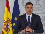 Pedro Sánchez durante la rueda de prensa.