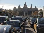 Marcha lenta de taxis en Plaza España