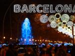 La Gran Via de Barcelona, iluminada este jueves.
