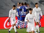 El Alavés celebra el gol de Lucas ante el Real Madrid.