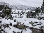 La Sierra de Madrid, cubierta por nieve tras la nevada fruto del temporal Filomena por la Comunidad de Madrid (España), a 10 de enero de 2021. La Comunidad de Madrid ha recordado a los madrileños, a través de un comunicado, que en las p