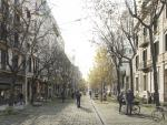Una imagen virtual del futuro aspecto de la calle Consell de Cent, adoquinada.