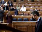 Pedro Sánchez, este miércoles en la primera jornada de la moción de censura de Vox.