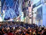 Vista general de la calle de Preciados de Madrid, este domingo.