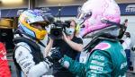 Fernando Alonso and Sebastian Vettel greet each other at the Azerbaijan GP