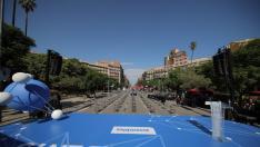 Imagen de la calle Aragó de Barcelona a la altura de plaza Letamendi donde se celebrará el acto central de la Diada.