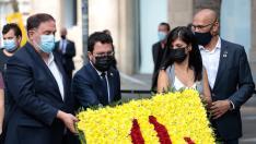 Oriol Junqueras, Pere Aragonès, Marta Vilalta i Raül Romeva ofrenda casanova diada 2021