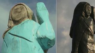 Una estatua de bronce de Melania Trump reemplaza en Eslovenia a la quemada
