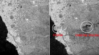 El antes y el después en La Palma tras la erupción del volcán de Cumbre Vieja, a vista de satélite