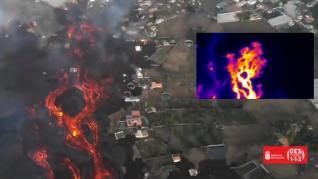 Así se ve en un vuelo de reconocimiento térmico la colada más activa del volcán de La Palma