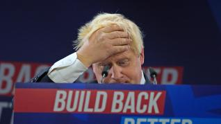 06 October 2021, United Kingdom, Manchester: UK Prime Minister Boris Johnson delivers his keynote speech during the Conservative Party Conference in Manchester. Photo: Peter Byrne/PA Wire/dpa 6/10/2021 ONLY FOR USE IN SPAIN