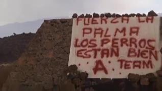 Hallan huellas humanas y una pancarta del 'Equipo A' en la zona de La Palma donde estaban los perros