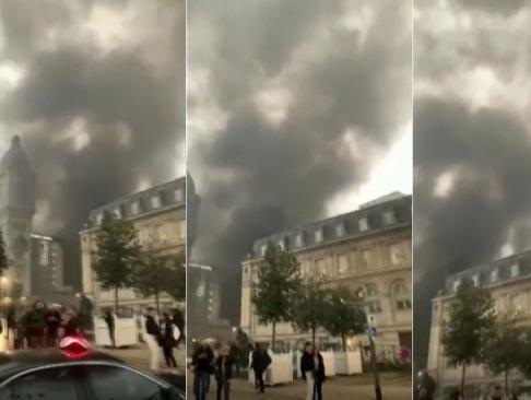 Un espectacular incendio provocado por una protesta en París obliga a evacuar una estación