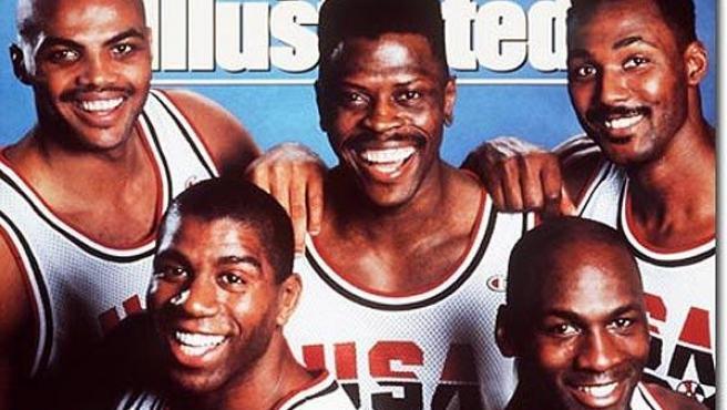 De izda a dcha y de arriba a abajo: Barkley, Ewin, Malone, Johnson y Jordan, quinteto titular del Dream Team de 1992 (Sports Illustrated)