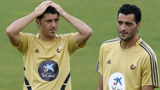 Dani Güiza y David Villa en un entrenamiento de la selección. (EFE)