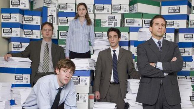 Algunos persnajes de la serie televisiva The office.
