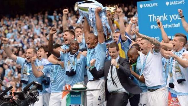 Así celebraron los jugadores del Manchester City su victoria en la Premier League.