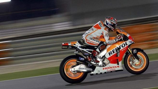 Marc Márquez, a lomos de su Honda en la calificación del GP de Catar.