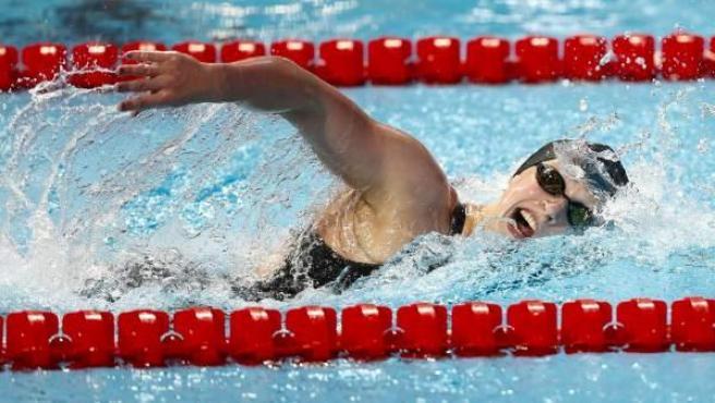 La nadadora Katie Ledecky durante los 1.500 metros estilos femeninos en los Mundiales de natación que se celebran en Kazán.