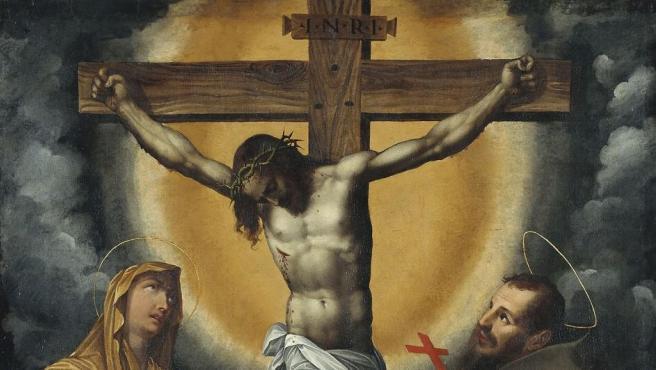 Crucifixión encargada por la orden franciscana, como se deduce de la presencia de San Francisco al pie de la cruz