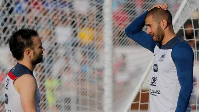 Mathieu Valbuena y Karim Benzema.
