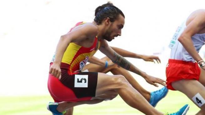 Fernando Carro en los 3.000 obstáculos