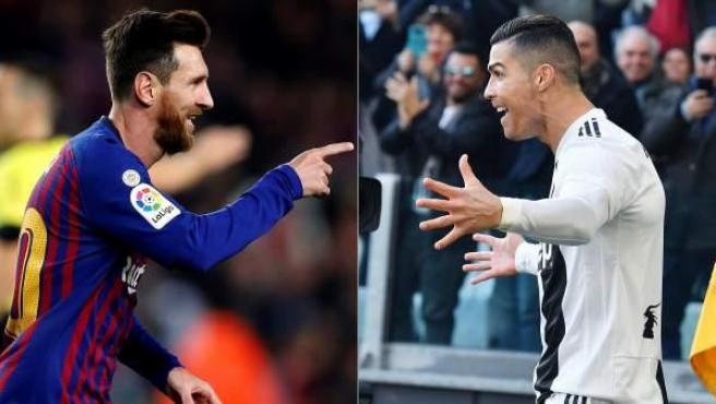Leo Messi y Cristiano Ronaldo, con las camisetas de Barcelona y Juventus respectivamente.