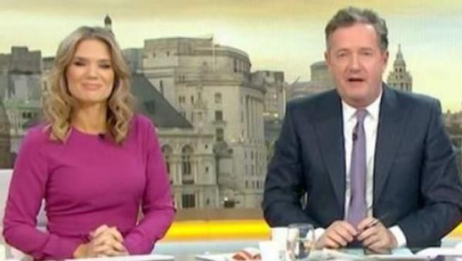 La presentadora Susanna Reid, a la izquierda, y en el centro Piers Morgan, durante la emisión del programa 'The Good Morning Britain'.