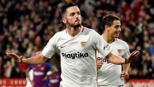 Gol de Pablo Sarabia en el Sevilla - Barça.