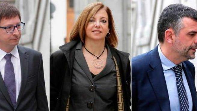 Los exmiembros del Govern Carles Mundó, Meritxell Borrás y Santiago Vila, llegando al Tribunal Supremo.