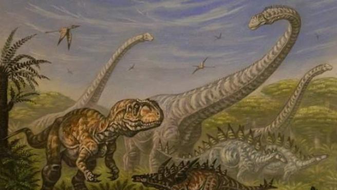 Ilustración en la que se muestran diversas especies de dinosaurios.