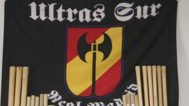 Logotipo de los Ultras Sur, detalle de una incautación policial.