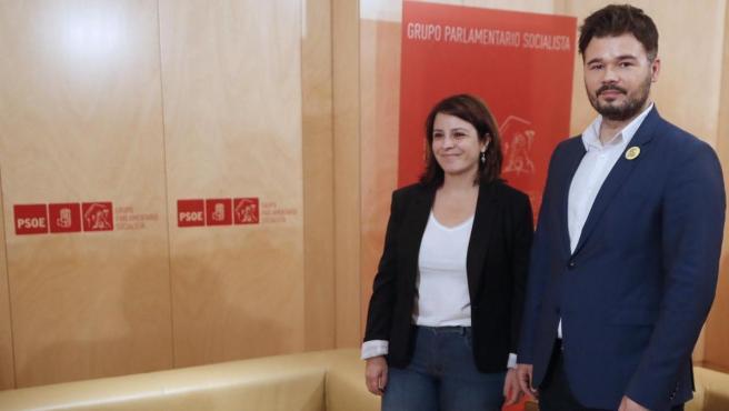 Adriana Lastra y Gabriel Rufián, en la imagen de una reunión anterior.