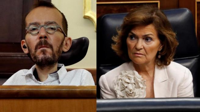 Pablo Echenique y Carmen Calvo en distintos momentos del debate de investidura.