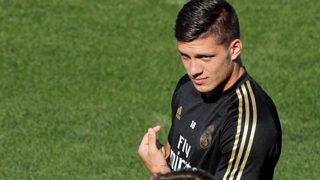 Jovic, en un entrenamiento del Real Madrid