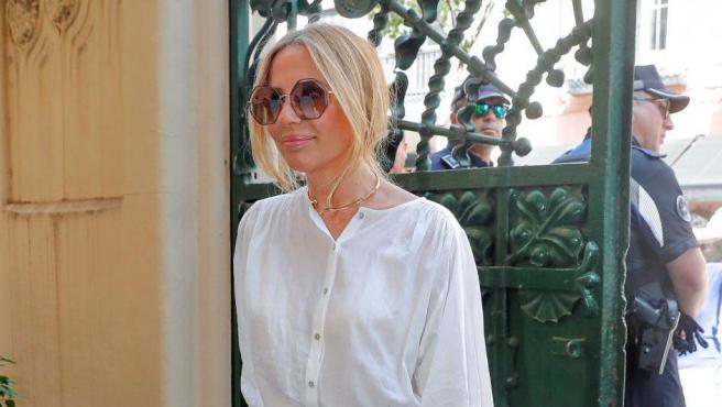 La cantante Marta Sánchez a su llegada a la capilla ardiente del cantante Camilo Sesto, en la SGAE de Madrid.