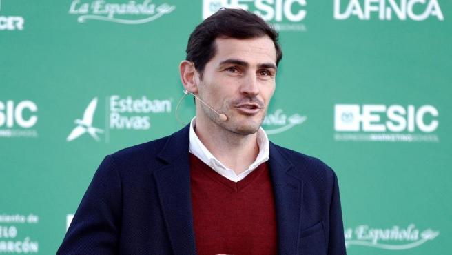 Casillas, durante un acto en las instalaciones del Club de Fútbol Pozuelo.