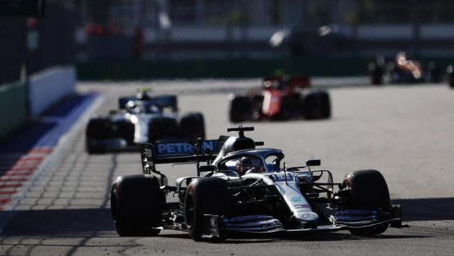 Lewis Hamilton, durante el GP de Rusia de Fórmula 1.