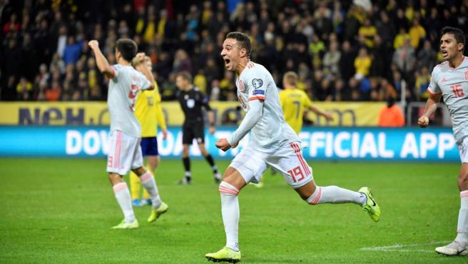 Rodrigo celebra el gol que da la clasificación de España a la fase final de la Eurocopa 2020.