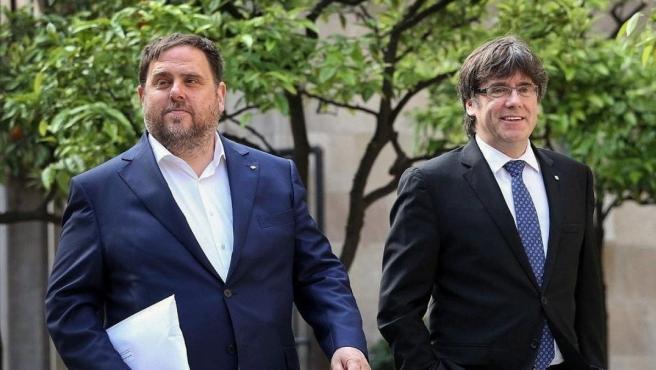 <p>Oriol Junqueras y Carles Puigdemont, en una imagen de archivo.</p>