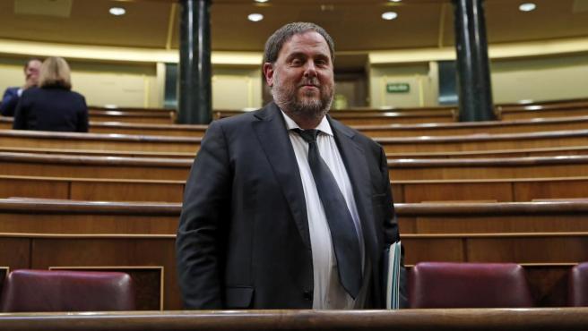 El político secesionista Oriol Junqueras, en una imagen de archivo tomada en el Congreso de los Diputados.