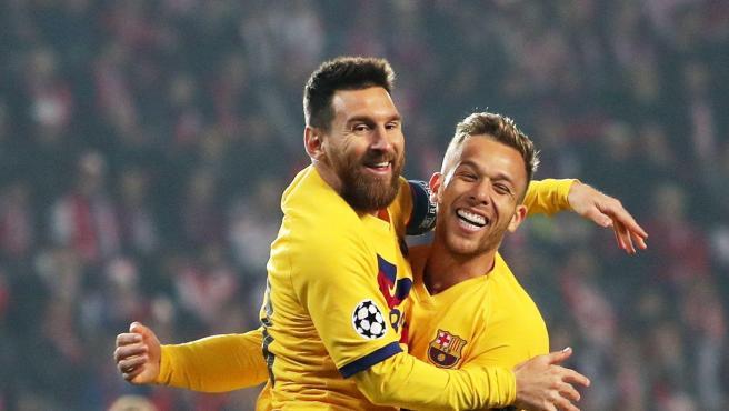 Leo Messi celebra un gol en la Champions