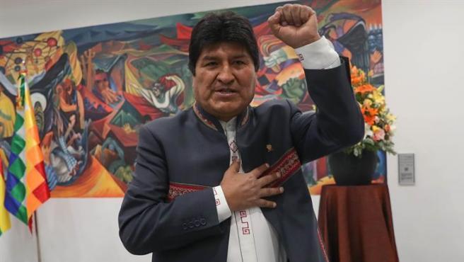 El presidente de Bolivia, Evo Morales, durante una rueda de prensa en La Paz.