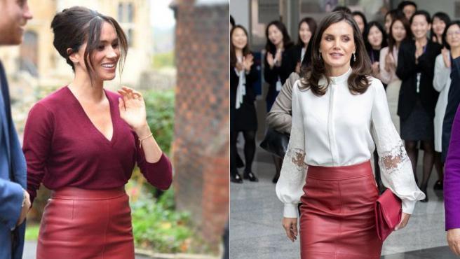 Meghan Markle y la reina Letizia llevan la misma falda roja de cuero.