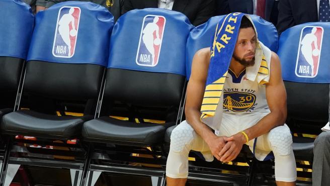 Stephen Curry, durante un partido de los Warriors.