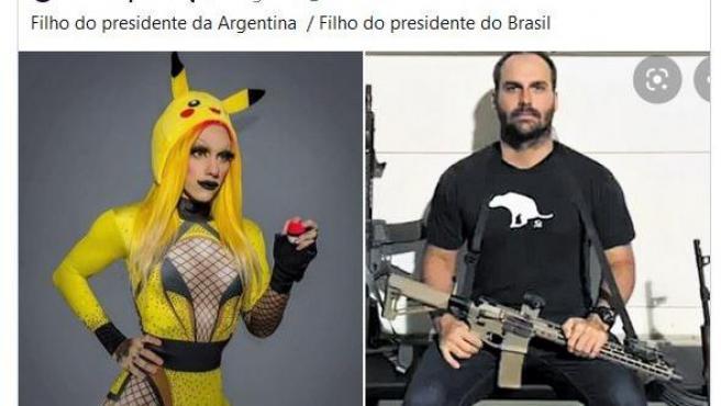 Imagen de la respuesta de Eduardo Bolsonaro al tuit que le compara con Estanislao Fernández, hijo de Alberto Fernández.