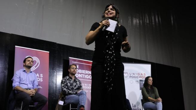 Teresa Rodríguez, durante la celebración de un mitin en Sevilla