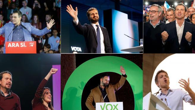 Los seis candidatos de los partidos nacionales, en sus mítines de cierre de campaña.