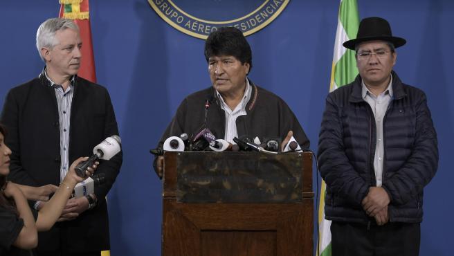 El presidente de Bolivia, Evo Morales, durante la rueda de prensa de este sábado. El presidente de Bolivia, Evo Morales 11/9/2019