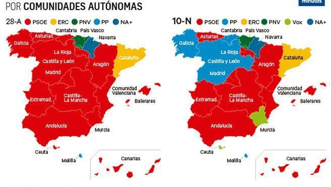 Mapa Comunidad De Madrid Politico.Mapa De Espana Tras Las Elecciones Generales En Espana 10 N